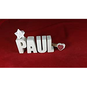 Beton, Steinguss Buchstaben 3D Deko Namen PAUL als Geschenk verpackt!