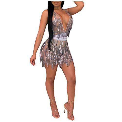 Fenverk 1920s Kleid Damen Flapper Kleid mit Kurzem Ärmel Gatsby Motto Party Damen Kostüm Kleid,Charleston Kleid Damen Knielang Cocotail Party Kleid Damen Gatsby Kostüm Kleid(Silber,M)