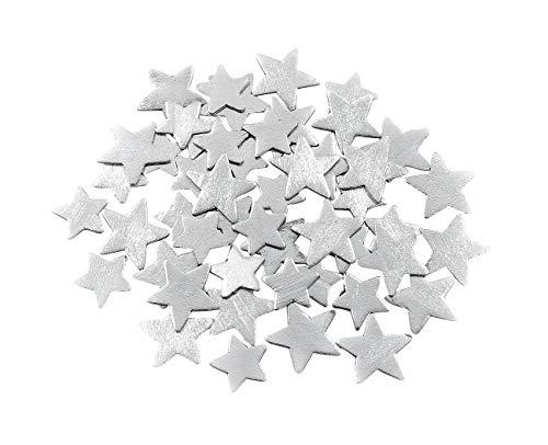 VBS Stanzteile Silberstern Streuteile Deko 50tlg. aus Holz in Box ca. 1,5 und 3 cm groß Weihnachten Tischdeko Karten Sterne