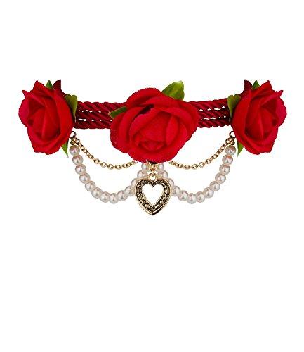 SIX SALE 'Oktoberfest' kurze enge Damen Halskette Kropfkette Kropfband Choker mit roten Rosen und goldenem Herz Wiesen Wiesn Dirndl (474-321)
