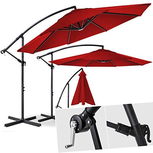Kesser® Alu Ampelschirm Ø 300 cm ✔mit Kurbelvorrichtung ✔UV-Schutz ✔Aluminium ✔Wasserabweisende Bespannung - Sonnenschirm Schirm Gartenschirm Marktschirm Rot