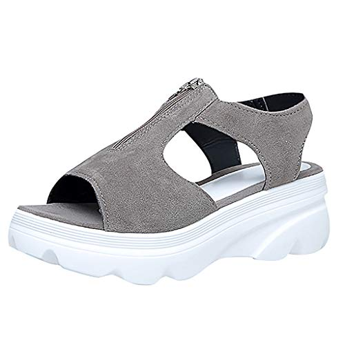 Dame Office Workout Sandalen Stiefel Schuhe Neue Mode Frauen Sommer Keile Plattform Reißverschluss Peep Toe Schuhe Casual Sandalen - Trendy Flache Schuhe