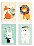 4 Art-Posters 20 x 30 cm - Bébés Animaux - Andy Westface