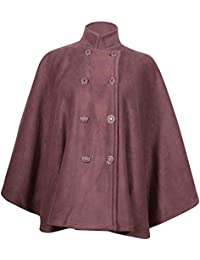 Womens Plain Ladies Cape Button Fastening Double Breasted Coat Jacket Poncho Plus Size
