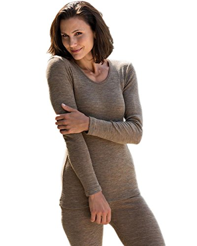 Engel Camiseta térmica de Manga Larga para Mujer 70% Lana de Merino orgánica/30% Seda Mulberry marrón Walnut 36