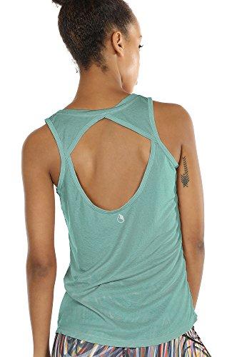 port Tank Top - Rückenfrei Fitness Shirt Oberteil ärmellos Training Tops (M, Agate Green ()