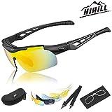 Hihill Lunettes de soleil, Lunettes de cyclisme, Lunettes de soleil polarisées pour hommes avec une protection à 100% des rayons UVA / UV 400 et 5 lentilles interchangeables à multiples utilisations pour le vélo