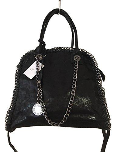 fashion&DU GLITZER Kette Handtasche Schultertasche Shopper Chain IT-bag silber gold schwarz Schwarz