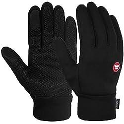 Vbiger Touchscreen Handschuhe Trainingshandschuhe Sport Handschuhe Rutschfest Handschuhe,Schwarz-1,L