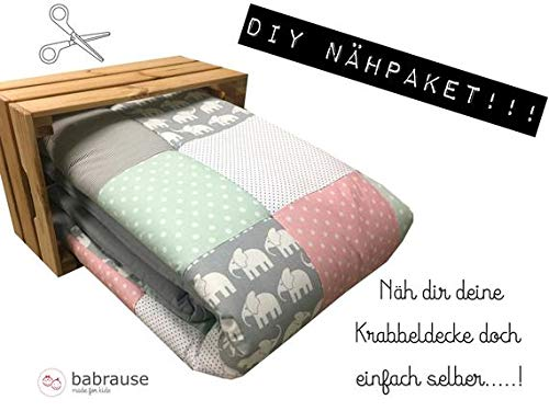 molo Stoffe DIY Krabbeldecke Nähpaket Elefant Mint Rosa