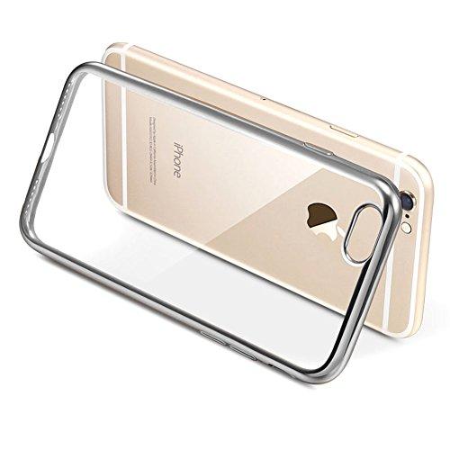 """Coque Apple iPhone 7 (4.7""""), MSVII® TPU Souple Transparent Bumper Coque Etui Housse Case et Protecteur écran Pour Apple iPhone 7 (4.7"""") - Argent JY60054 Argent"""