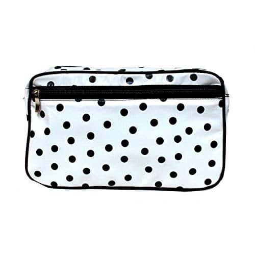 IKURI Trousse de Maquillage Imperméable - Trousse de toilette pour Femme Sac à Cosmétiques Portable pour Voyage Organisateur - Design Lunares Blanc