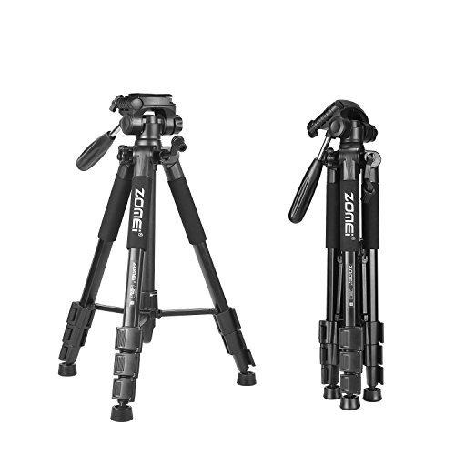 Treppiede leggero, ZOMEI Z666 Compatto e Resistente e Comodo Treppiede con Testa 3 Vie 4 Sezioni Alluminio per DSLR SLR Canon Nikon Pentax Sony Treppiede-- Nero