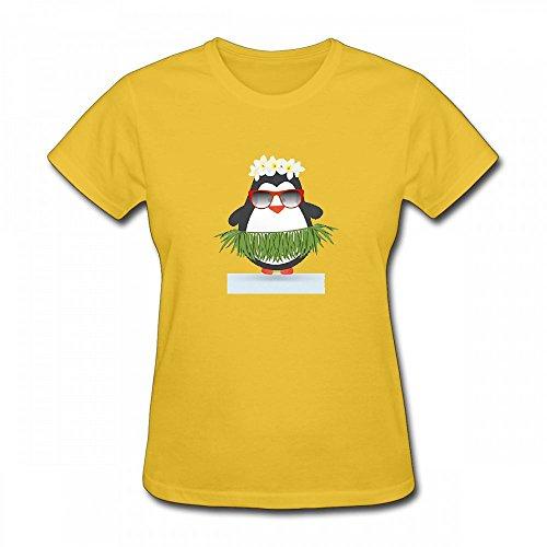 qingdaodeyangguo T Shirt For Women - Design Funny Hula Hawaiian Penguin Tropical Summer Shirt yellow