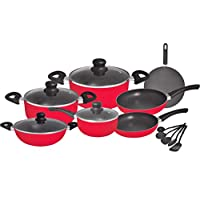 طقم قدور طهي غير لاصق من الالومنيوم مكون من 16 قطعة، لون احمر، RF8430
