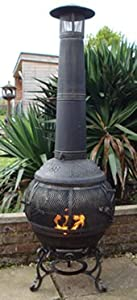 Castmaster Alfresco Cast Iron 360 Degree Firepit Chiminea.. Free Bbq Grill Included