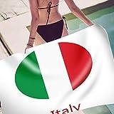 ViewHuge Serviette de Plage, Drapeau carré en Microfibre Couverture de Voyage Grand Tapis de Pique-Nique Nappe Murale à Suspendre, Italian Flag, 70x150cm