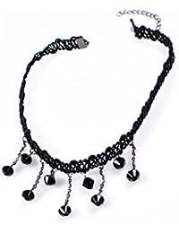 TOOGOO(R) Collar De Encaje Con Cuentas Negras Collar Gargantilla Para Mujeres - Negro