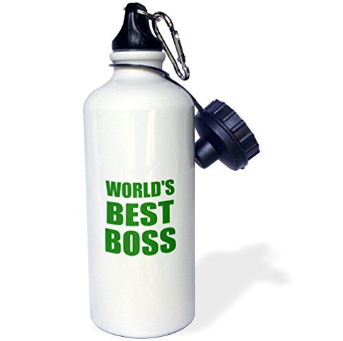 3dRose Worlds Best Boss Green Text Great Design for The Greatest Boss Sports Water Bottle, 21 oz, White