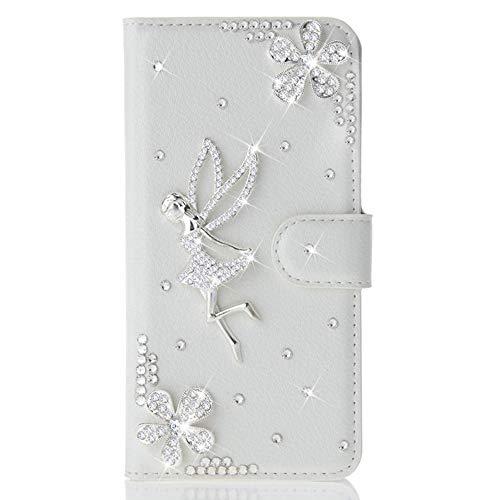 Awenroy Glitzer Hülle für Wiko Lenny 5 Strass Bling Handy Tasche Flip PU Leder Wallet Handyhülle Kartenfach Aufstellfunktion Magnetverschluss mit Stand Funktion - Weiß 5 Bling