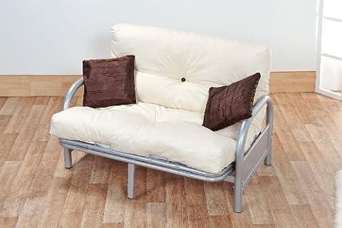 Mexico Double 4FT6 Tri-Fold Silver Futon Sofa Bed Frame with Reflex Foam Flake Futon Mattress - ex Argos Stock