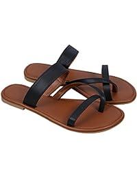 Outgobuy Damen Leder Thong Flache Ferse Sommer Sandalen Handgefertigt in  Griechenland Flip Flops 919f958198