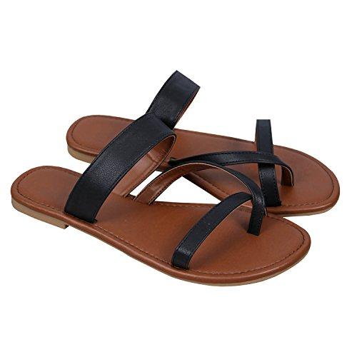 Outgobuy Damen Leder Thong Flache Ferse Sommer Sandalen Handgefertigt in Griechenland Flip Flops (38EU, Schwarz)