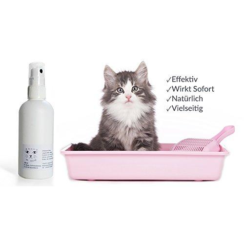 Sie sind Katzenbesitzer? Aber die unangenehmen Gerüche aus der Katzentoilette! Geruchsneutralisierer - Spray fürs Katzenklo von Baron's, Natürlicher - biologischer Geruchskiller - Geruchsstopper - Geruchskiller gegen Urin-Geruch. Einfach anwendbarer Reiniger in 100 ml Sprühflasche,Direkt in das Katzenwc - Katzentoilette - Katzenklo - Deo-Spray. Mitbringsel, kleines Geschenk für Katzenbesitzer.