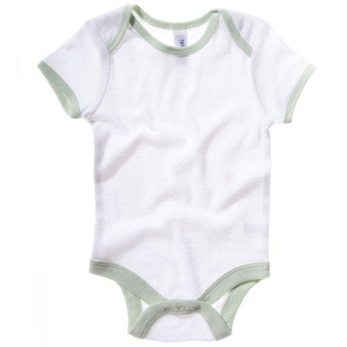 Maschine Ringer (Bella Canvas Baby Unisex Ringer Body Kurzarm (18-24 Monate) (Weiß / Pastell Grün))