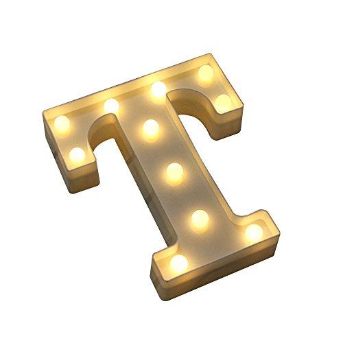 Alphabet Buchstaben A bis Z Karneval dekorative DIY LED Jäten Lichter Batterie betrieben, T ()