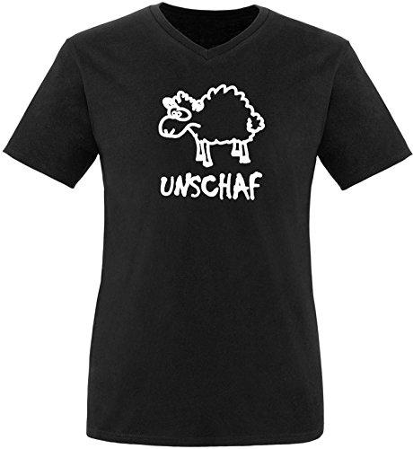 Luckja Unschaf Herren V-Neck T-Shirt Schwarz/Weiss