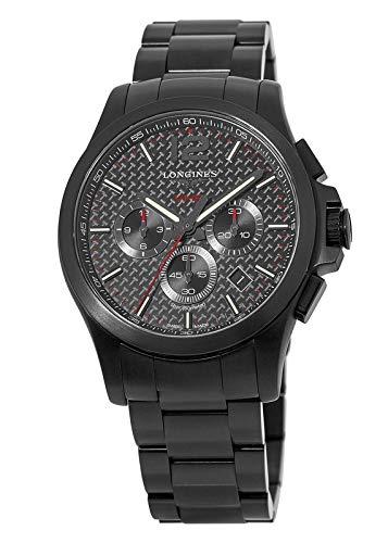 Longines Conquest V.H.P. Reloj cronógrafo con Esfera de Carbono Negra para Hombre L3.727.2.66.6 L37272666