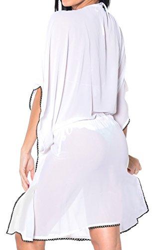 La Leela superleichte schiere Chiffon tiefen Juwel V-Ausschnitt Badebekleidung Badeanzug Cocktailparty 4 in 1 Strand-Bikini-Vertuschung Tunika Lounge Grund Kleid bestickt Weiß