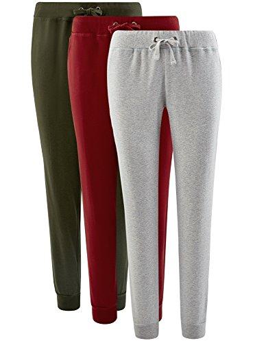 oodji Ultra Damen Jersey-Hose (3er-Pack) Mehrfarbig (19G3N)