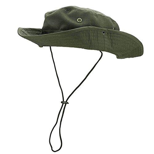 Faleto Outdoor Hut Buschhut Boonie Hat mit Kinnband Fischermütze Sonnenhut Sommerhut für Herren Damen, Militär Grün, passt für Kopfumfang 60cm