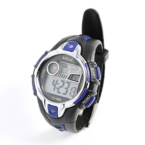 Schwarz, Blau, Silber Ton Kunststoff Einstellbare Armband-Digital-Sport für Kinder beobachten