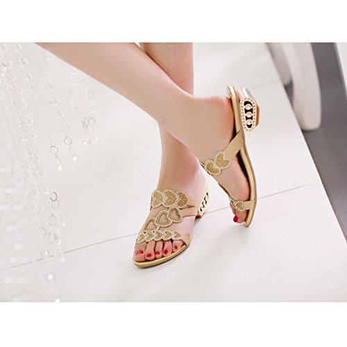 ZYUSHIZ Die Simbiodas Suan coole Hausschuhe wilde Partys mit Sandalen Hausschuhe Gold