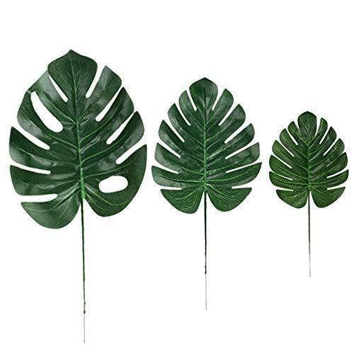 ToDIDAF Künstliche Blätter/Tropische Imitationspflanzen/Monstera Blätter Hawaiian Party Theme (36 Stück Blätter) - Natürliche Reben-teppich