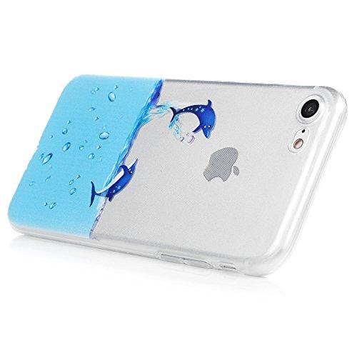 iPhone 7 Hülle (4,7 Zoll) YOKIRIN TPU Silikon Transparent Schutzhülle Weiche Crystal Clear Case Slim Fit Gemalt Silikonhülle für iPhone 7 Delphin Delphin