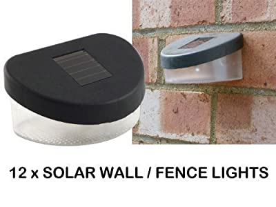 NEW - PACK OF 12 x SOLAR WALL / FENCE LIGHTS - LONG LIFE LED - WEATHERPROOF - FOR DRIVEWAYS, PATHS, STEPS, PATIOS, GARDEN produced by L-FENG-UK - quick delivery from UK.