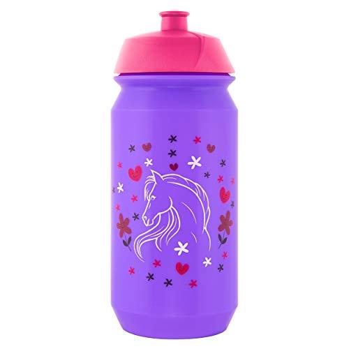 Baagl Schule Trinkflasche für Mädchen - Kinder Wasserflasche für Unterwegs - BPA frei, 500 ml - Pferd