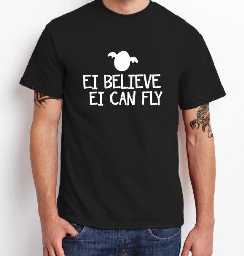 ::: EI BELIEVE ::: T-Shirt Herren, Schwarz/Weiß, Größe (Ei Kostüme)