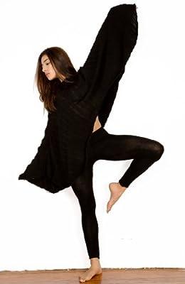 Black Swan Dramatic Hooded Poncho by KD dance NYC, Soft Shadow Stripe