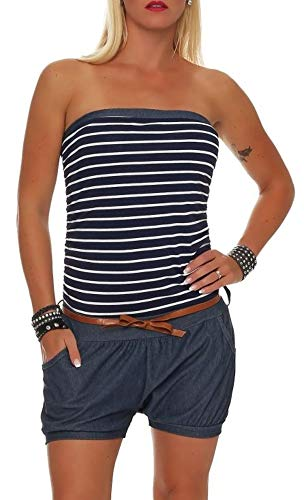 malito kurzer Marine Jumpsuit im Jeans-Look 9646 Damen One Size