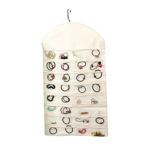 Pingenaneer Portagioielli da Appendere Organizzatori per Gioielli Collana Orecchini Bracciale Acessori con 32 Tasche e 18 Chiusure(Beige)