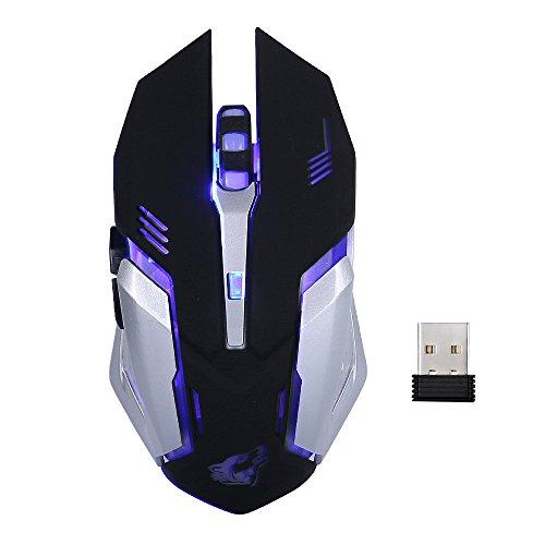 Lanker Drahtlose Wiederaufladbare Gaming-Maus - USB Optische MäUse Mit Ruhe Klicken, 3 Einstellbare DPI, 6 Tasten, 7 Wechselnde Atmung Hintergrundbeleuchtung - GM07 Schwarz