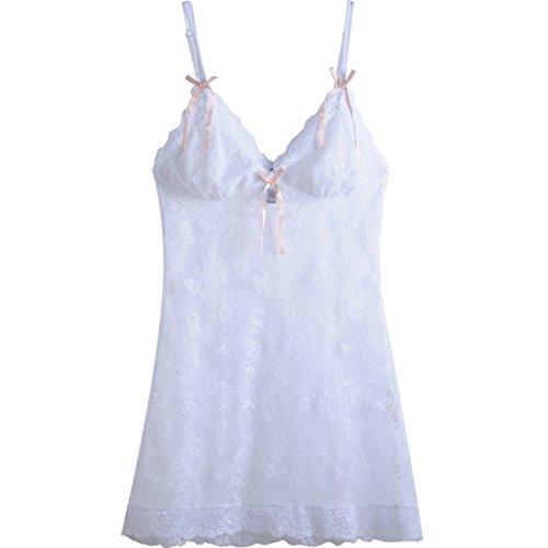GSHGA Weibliche High-End-sexy Spitze Transparente Versuchung Zu Schmecken Wäsche-Kleid White