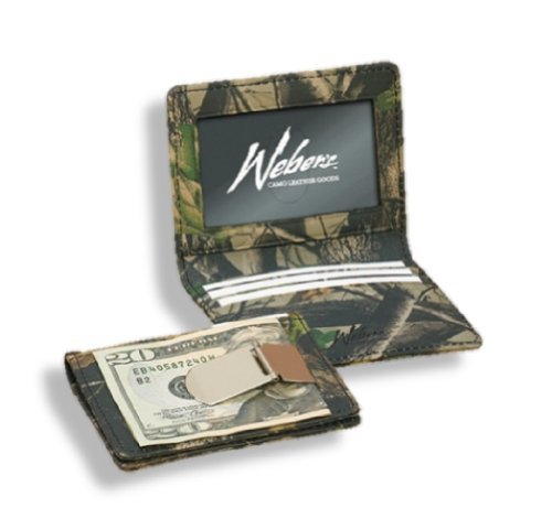 Realtree Leather Wallet Mens Camo Leather Front Pocket ID Wallet Money Clip HD by Webers Camo Leathter - Webers Camo