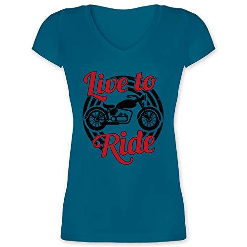 Motorräder - Live to Ride Motorrad schwarz - XL - Türkis - XO1525 - Damen T-Shirt mit V-Ausschnitt