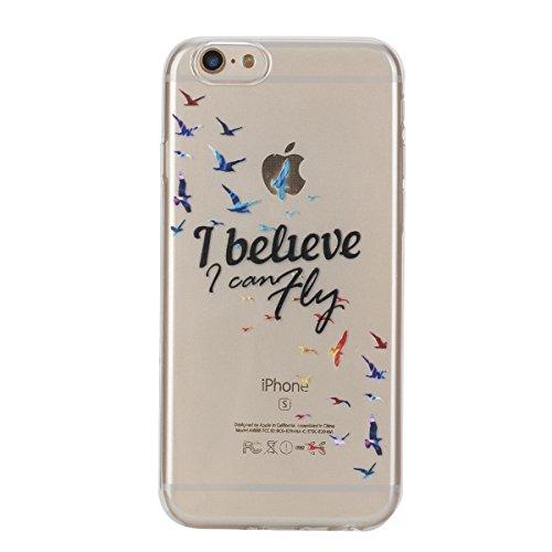 iPhone 6S Plus Hülle, iPhone 6 Plus Hülle, Gift_Source [ Bunte Schmetterlinge ] Hülle Case Transparent Weiche Silikon Schutzhülle Handyhülle Schutzhülle Durchsichtig TPU Crystal Clear Case Backcover B E1-Ich glaube, ich kann fliegen